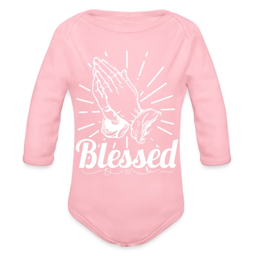 Blessed (White Letters) - Organic Long Sleeve Baby Bodysuit