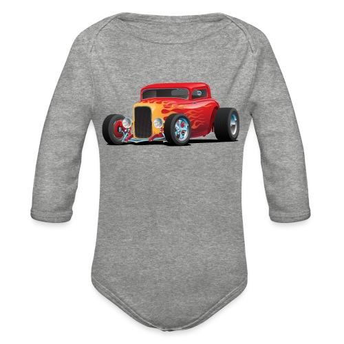 Classic Bold Red Custom Street Rod - Organic Long Sleeve Baby Bodysuit