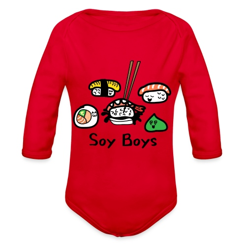 Soy Boys Kawaii Sushi - Anime / Manga Chibi Design - Organic Long Sleeve Baby Bodysuit