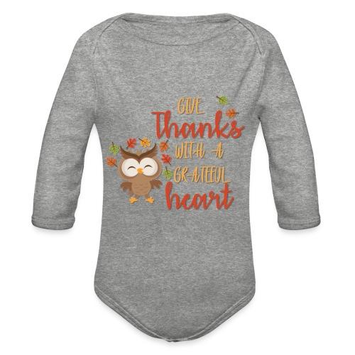 Give Thanks - Organic Long Sleeve Baby Bodysuit