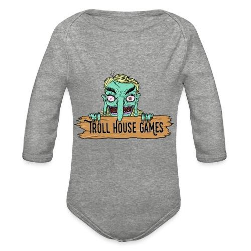 Troll House Games Cartoon Logo - Organic Long Sleeve Baby Bodysuit