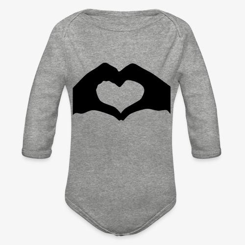 Silhouette Heart Hands | Mousepad - Organic Long Sleeve Baby Bodysuit