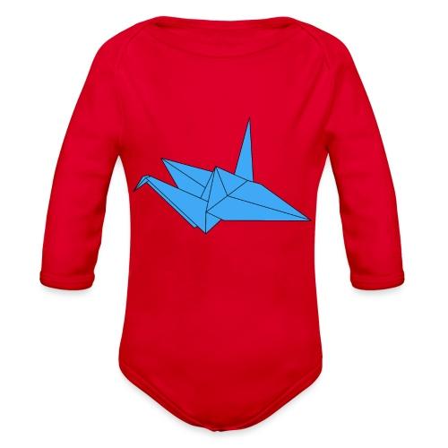 Origami Paper Crane Design - Blue - Organic Long Sleeve Baby Bodysuit