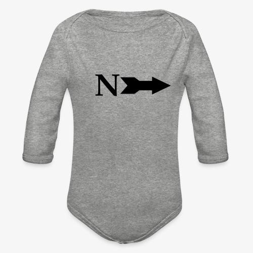 Narrow Logo Black - Organic Long Sleeve Baby Bodysuit