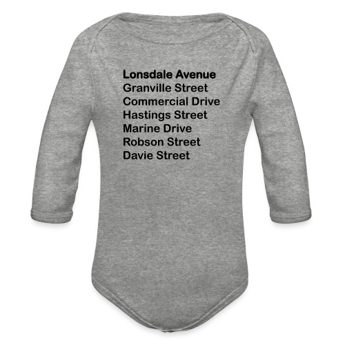 Street Names Black Text - Organic Long Sleeve Baby Bodysuit