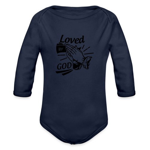 Loved By God (Black Letters) - Organic Long Sleeve Baby Bodysuit