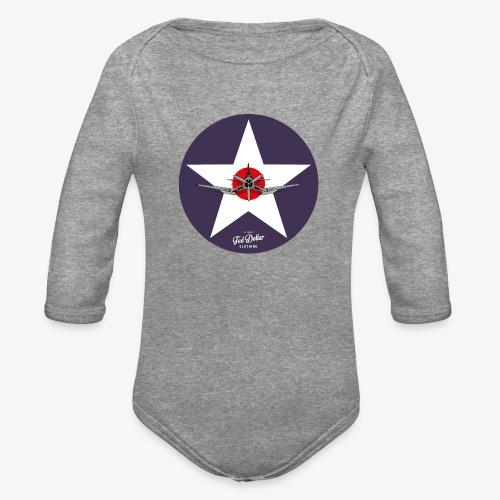 Navy Star - Organic Long Sleeve Baby Bodysuit