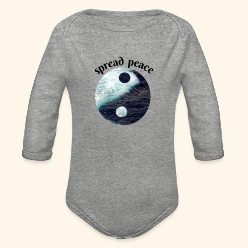 spread peace - Organic Long Sleeve Baby Bodysuit