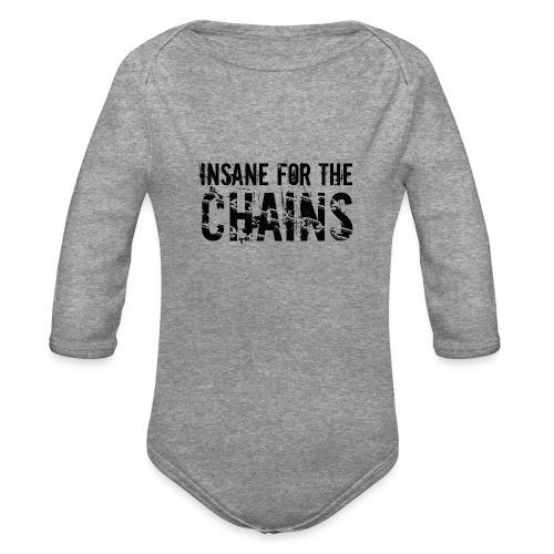 Insane For the Chains Disc Golf Black Print - Organic Long Sleeve Baby Bodysuit