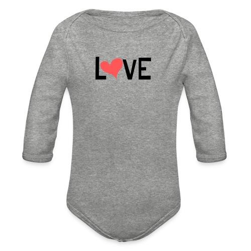 LOVE heart - Organic Long Sleeve Baby Bodysuit