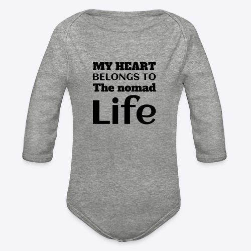 My Heart Belongs to the nomad Life-Dark - Organic Long Sleeve Baby Bodysuit