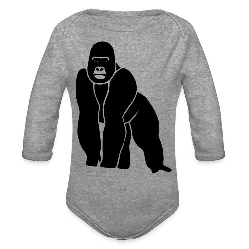 gorilla ape monkey king kong godzilla silver back - Organic Long Sleeve Baby Bodysuit