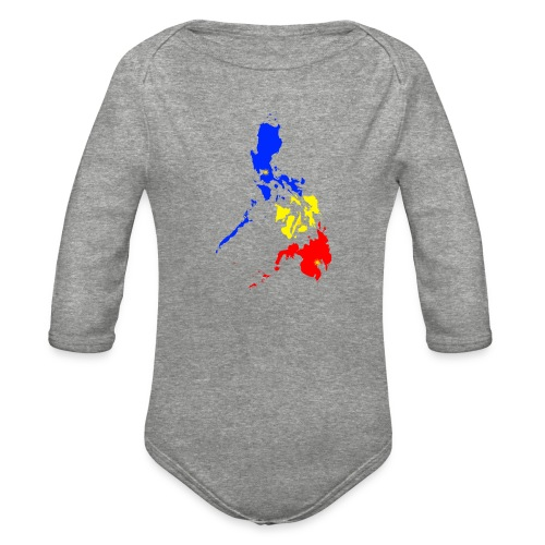 Philippines map art - Organic Long Sleeve Baby Bodysuit