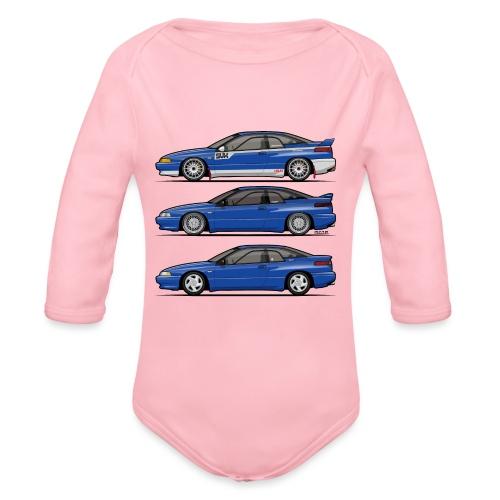 Subie Alcyone SVX Laguna Blue Pearl Trio - Organic Long Sleeve Baby Bodysuit
