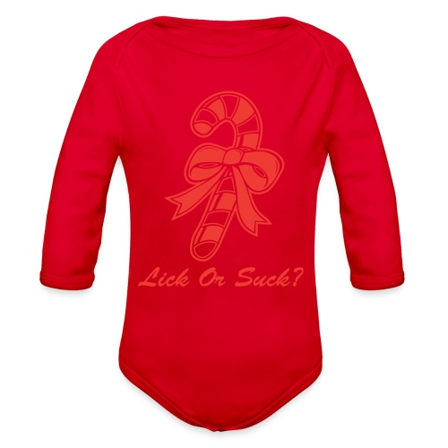 Lick Or Suck Candy Cane - Organic Long Sleeve Baby Bodysuit