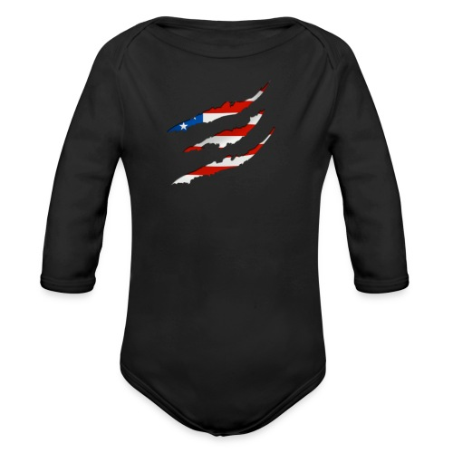 3D American Flag Claw Marks T-shirt for Men - Organic Long Sleeve Baby Bodysuit