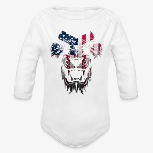 American Flag Lion Shirt - Organic Long Sleeve Baby Bodysuit