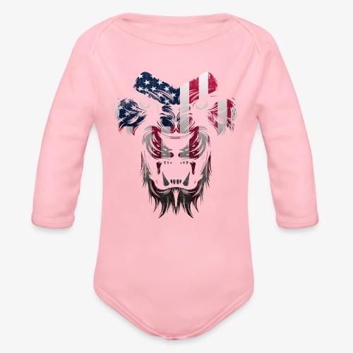 American Flag Lion Shirt - Organic Long Sleeve Baby Bodysuit