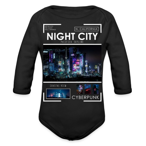 Night City Pacifica Skyline - Organic Long Sleeve Baby Bodysuit