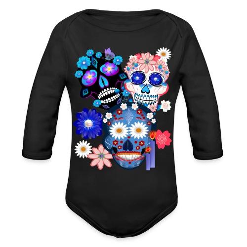 3 Skulls-Day Of The Dead - Organic Long Sleeve Baby Bodysuit