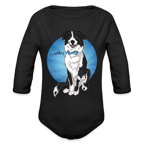 Border Collie Frankie Full Colour With Name - Organic Long Sleeve Baby Bodysuit