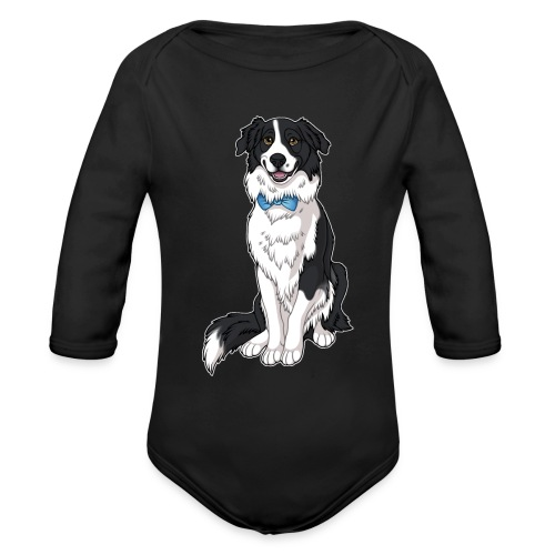 Border Collie Frankie - Transparent Background - Organic Long Sleeve Baby Bodysuit
