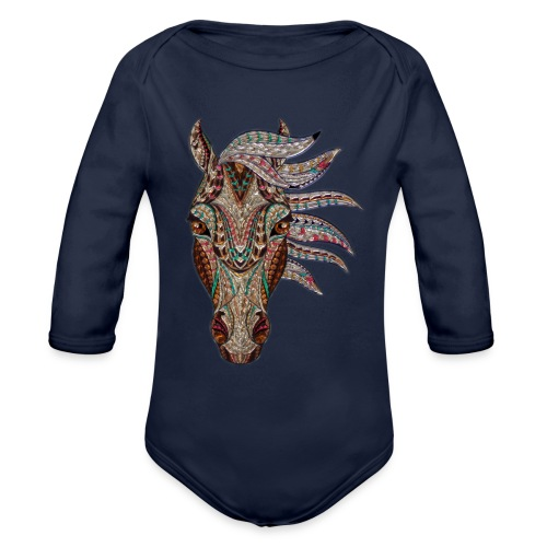 Horse head - Organic Long Sleeve Baby Bodysuit