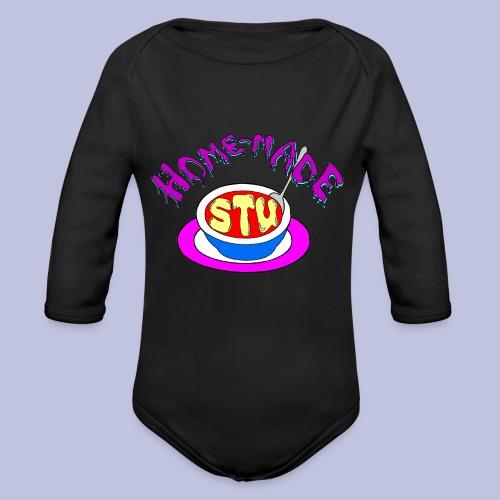 home made stu Logo - Organic Long Sleeve Baby Bodysuit