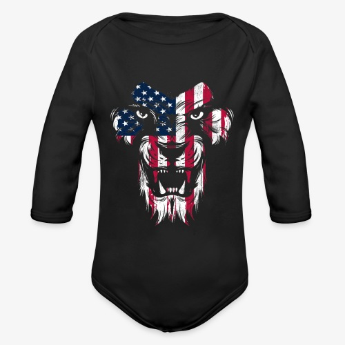 American Flag Lion - Organic Long Sleeve Baby Bodysuit
