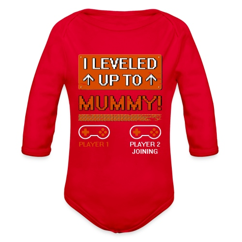 I Leveled Up To Mummy - Organic Long Sleeve Baby Bodysuit