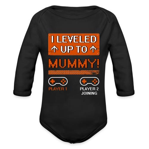 I Leveled Up To Mummy - Organic Long Sleeve Baby Bodysuit