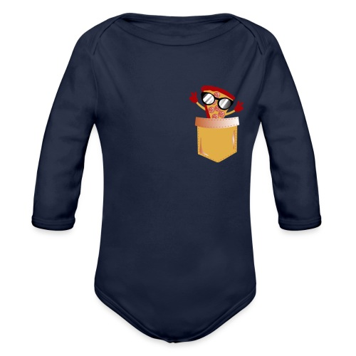 Pizza Lover pocket - Organic Long Sleeve Baby Bodysuit