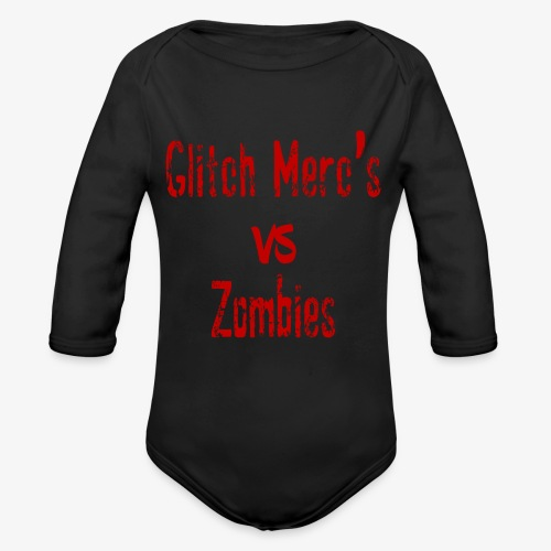 glitch zombie red - Organic Long Sleeve Baby Bodysuit