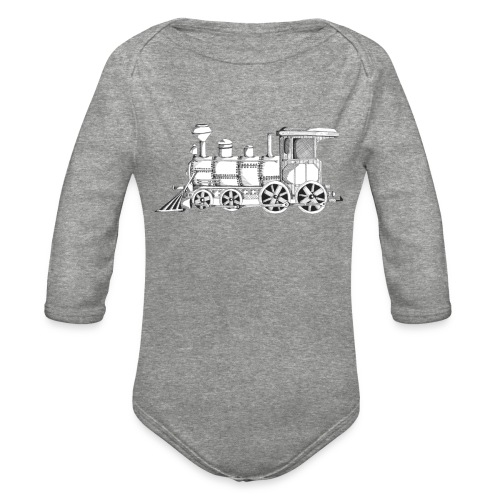 steam train - Organic Long Sleeve Baby Bodysuit