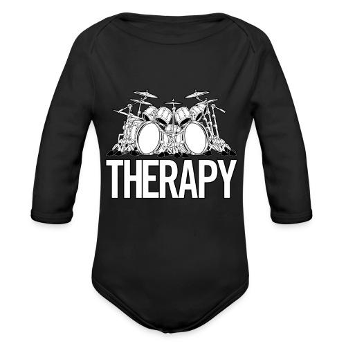 Drummers Therapy Drum Set Cartoon Illustration - Organic Long Sleeve Baby Bodysuit
