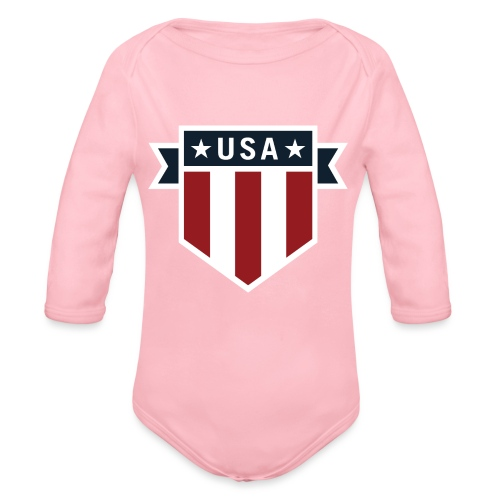 USA Pride Red White and Blue Patriotic Shield - Organic Long Sleeve Baby Bodysuit