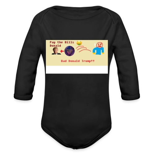 donald trump gets hit with a ball - Organic Long Sleeve Baby Bodysuit