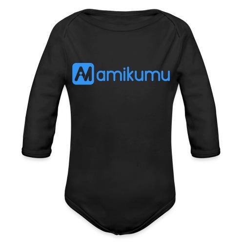 Amikumu Logo Blue - Organic Long Sleeve Baby Bodysuit