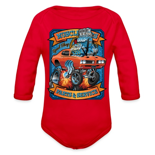 Classic Sixties Muscle Car Parts & Service Cartoon - Organic Long Sleeve Baby Bodysuit