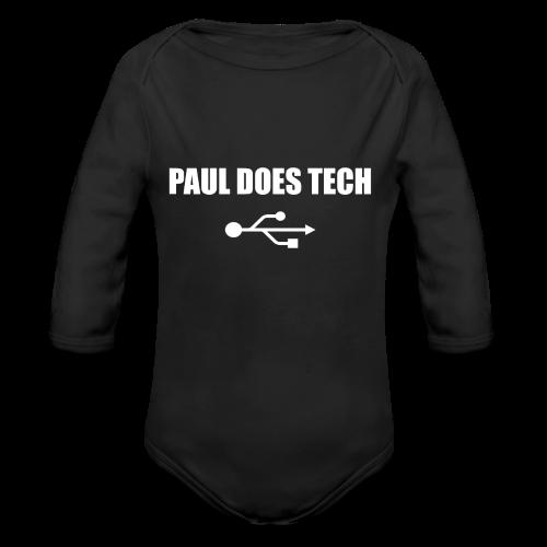 Paul Does Tech White Logo With USB - Organic Long Sleeve Baby Bodysuit