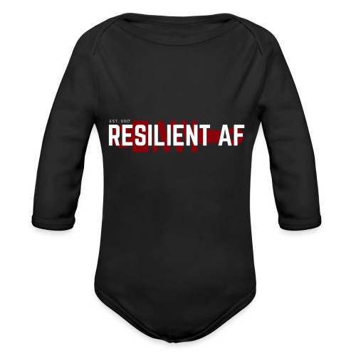 RESILIENT WHITE with red - Organic Long Sleeve Baby Bodysuit