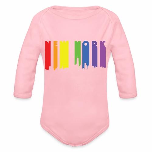 New York design Rainbow - Organic Long Sleeve Baby Bodysuit