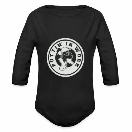 P.I.W White Logo - Organic Long Sleeve Baby Bodysuit