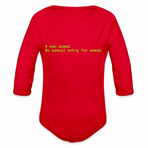 man woman. No manual entry for woman - Organic Long Sleeve Baby Bodysuit