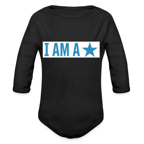 iamastar logo white - Organic Long Sleeve Baby Bodysuit