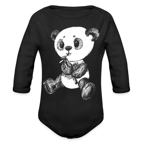 Panda bear white scribblesirii - Organic Long Sleeve Baby Bodysuit