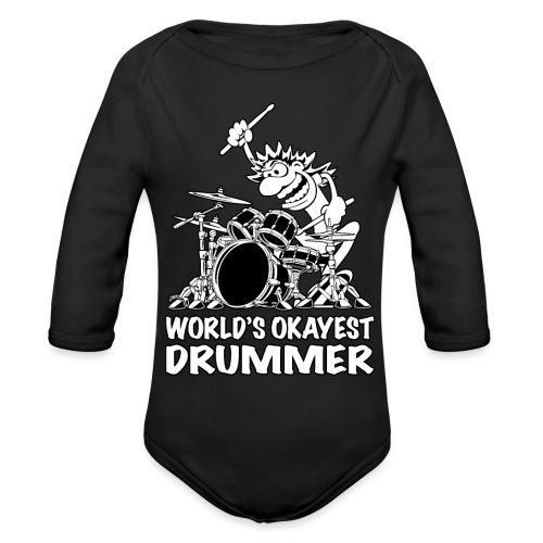 World's Okayest Drummer Cartoon Illustration - Organic Long Sleeve Baby Bodysuit