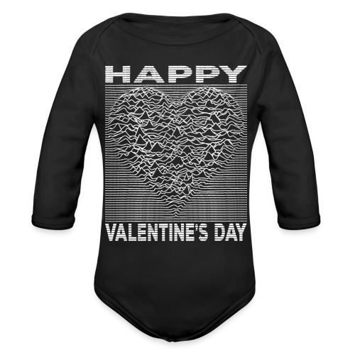 Love Lines Happy Valentines Day Heart - Organic Long Sleeve Baby Bodysuit