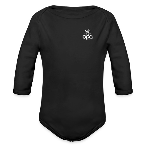 Short Sleeve T-Shirt with small all white OPA logo - Organic Long Sleeve Baby Bodysuit