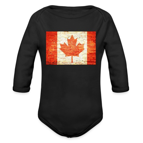 Canada flag - Organic Long Sleeve Baby Bodysuit